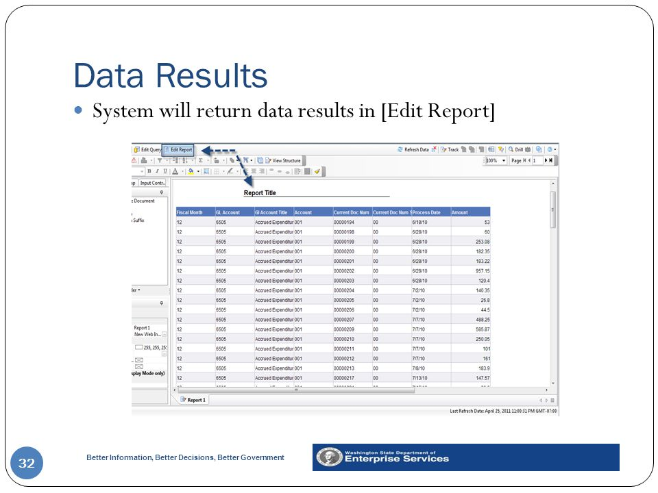 Data Results System will return data results in [Edit Report]